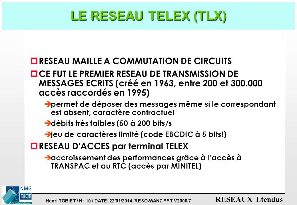 Henri TOBIET / N° 9 / DATE: 22/01/2014 /RESO-WAN7.PPT V2000/7 RESEAUX Etendus PDH: LA HIERARCHIE PLESIOCHRONE p PLESIOCHRONE =
