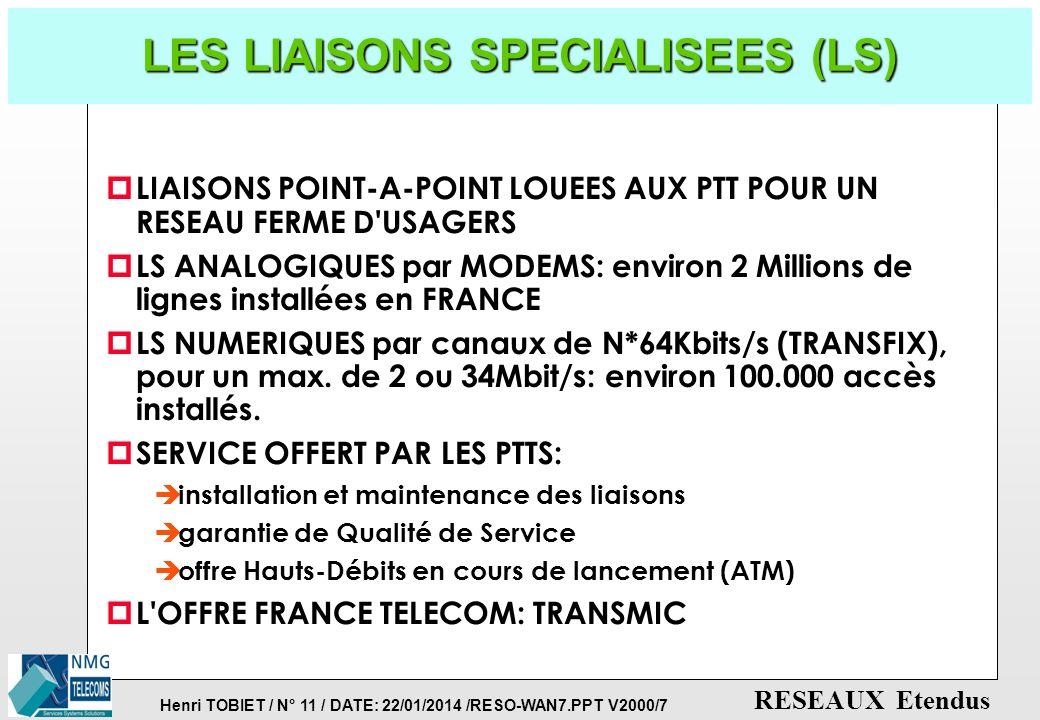 Henri TOBIET / N° 10 / DATE: 22/01/2014 /RESO-WAN7.PPT V2000/7 RESEAUX Etendus LE RESEAU TELEX (TLX) p RESEAU MAILLE A COMMUTATION DE CIRCUITS p CE FU