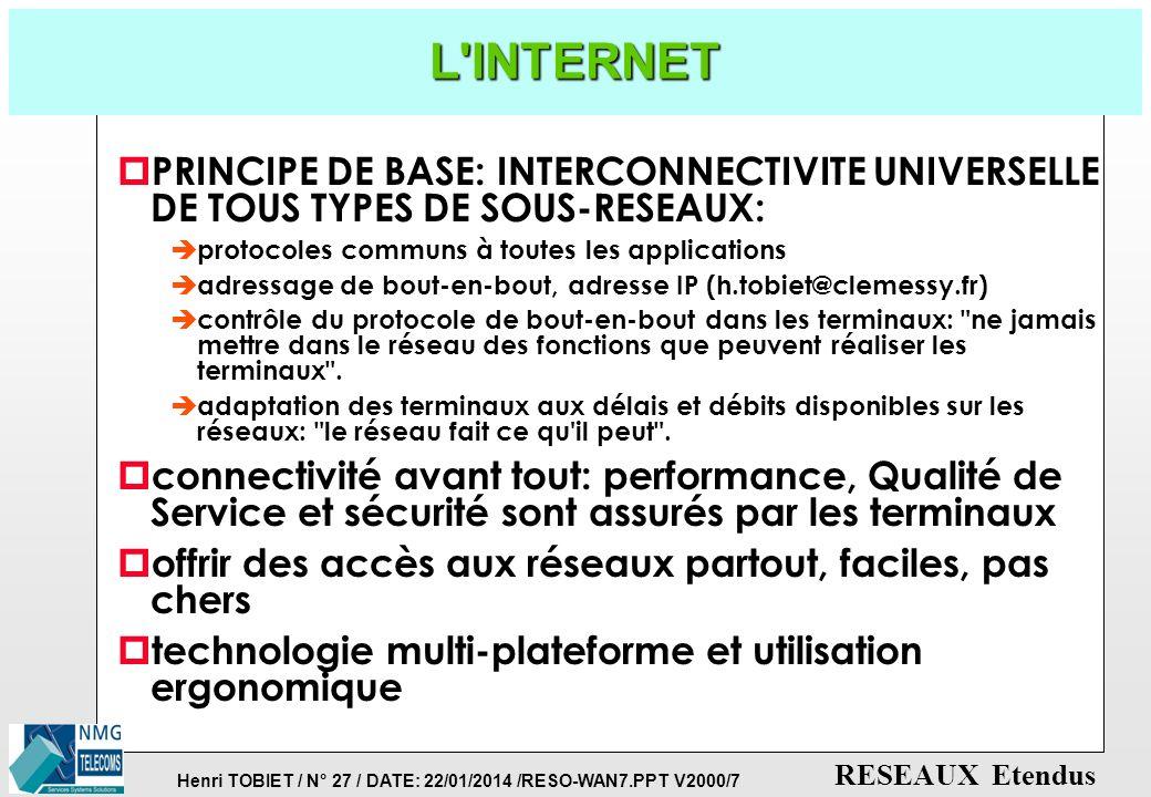 Henri TOBIET / N° 26 / DATE: 22/01/2014 /RESO-WAN7.PPT V2000/7 RESEAUX Etendus OFFRE FRANCE TELECOM: LA GAMME