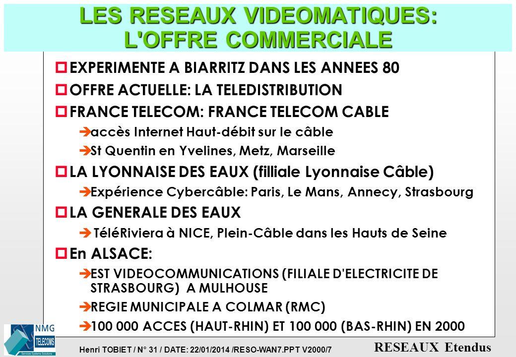 Henri TOBIET / N° 30 / DATE: 22/01/2014 /RESO-WAN7.PPT V2000/7 RESEAUX Etendus LES RESEAUX VIDEOMATIQUES: CONFIGURATIONS p RESEAUX DE DISTRIBUTION DE