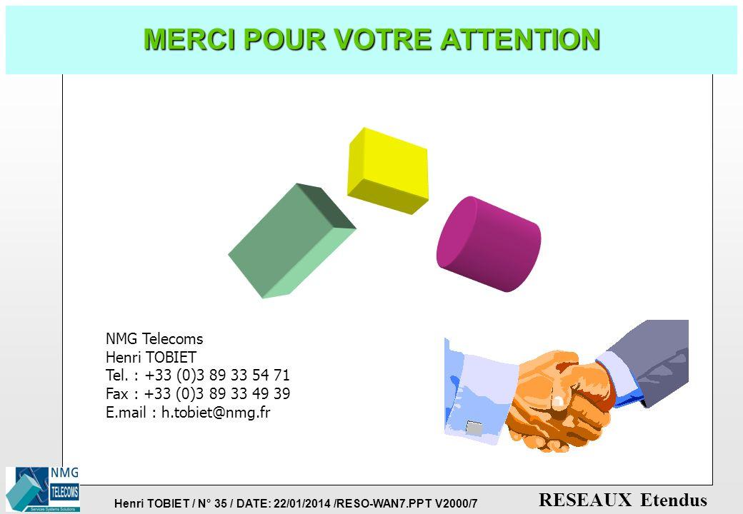 Henri TOBIET / N° 34 / DATE: 22/01/2014 /RESO-WAN7.PPT V2000/7 RESEAUX Etendus LES RESEAUX RNIS LARGE-BANDE p TRANSMISSION DE L'IMAGE ANIMEE (Haute-Dé