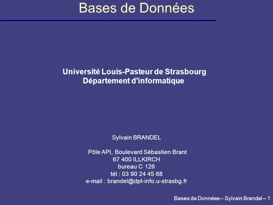Bases de Données – Sylvain Brandel – 32 New image Table Image at statement commencement SELECT * FROM table; SELECT * FROM table; Exemple d implantation d un SGBD : Oracle Segments de rollback Chapitre 1.