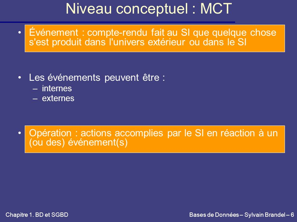 Bases de Données – Sylvain Brandel – 97 Insertion – suppression Insertion d un n-uplet n dans ETUDIANT : - pré-condition : - n.net proj net (ETUDIANT) - n.âge proj âge (PRIX) - post-condition : ETUDIANT = ETUDIANT {n} Suppression dans ETUDIANT : - pré-condition : n.net proj net (NOTE) - post-condition : ETUDIANT = ETUDIANT – {n} Suppression en cascade : - pré-condition : VRAI - post-condition : - ETUDIANT = ETUDIANT – {n} - NOTE = NOTE - (NOTE | net = n.net) Chapitre 2.