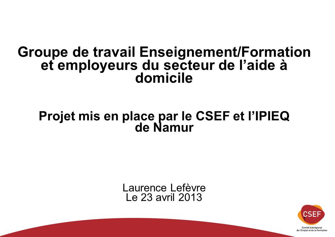 1 Groupe de travail Enseignement/Formation et employeurs du secteur de laide à domicile Projet mis en place par le CSEF et lIPIEQ de Namur Laurence Lefèvre Le 23 avril 2013