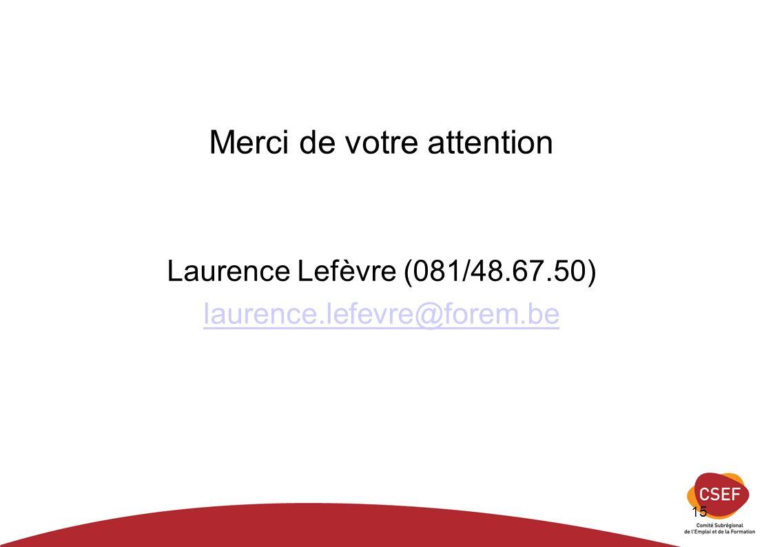 15 Merci de votre attention Laurence Lefèvre (081/48.67.50) laurence.lefevre@forem.be