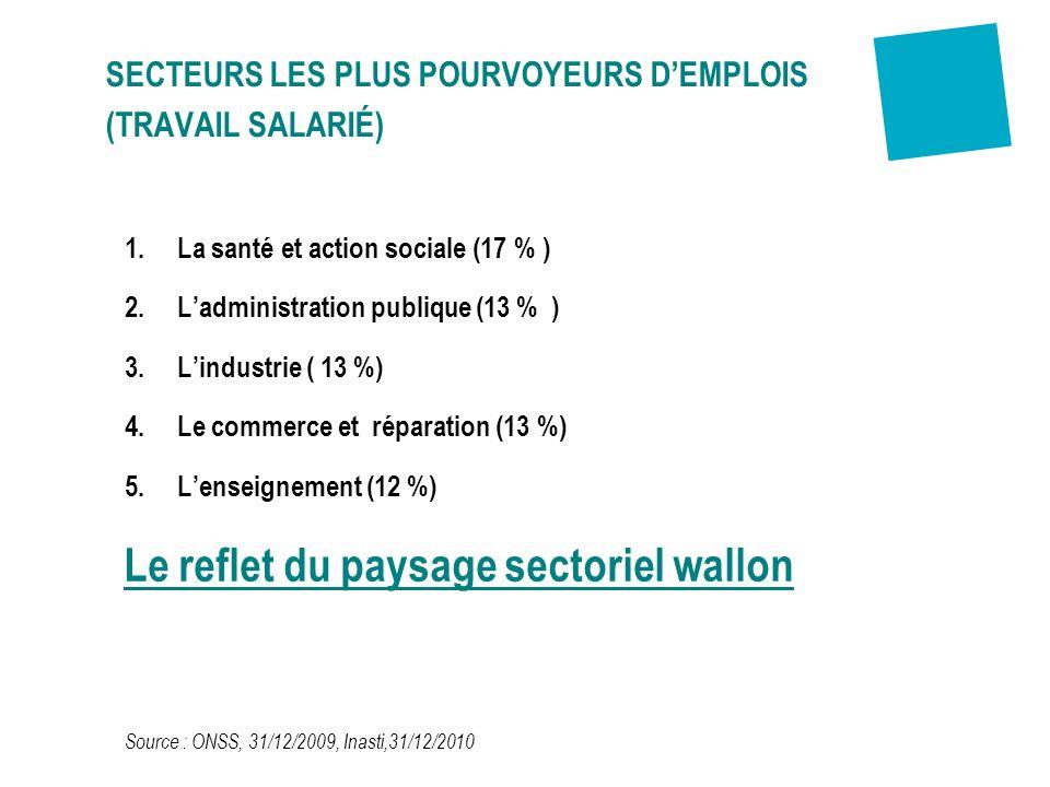 SECTEURS LES PLUS POURVOYEURS DEMPLOIS (TRAVAIL SALARIÉ) 1.La santé et action sociale (17 % ) 2.Ladministration publique (13 % ) 3.Lindustrie ( 13 %)