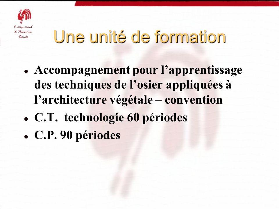 Une unité de formation Accompagnement pour lapprentissage des techniques de losier appliquées à larchitecture végétale – convention C.T. technologie 6