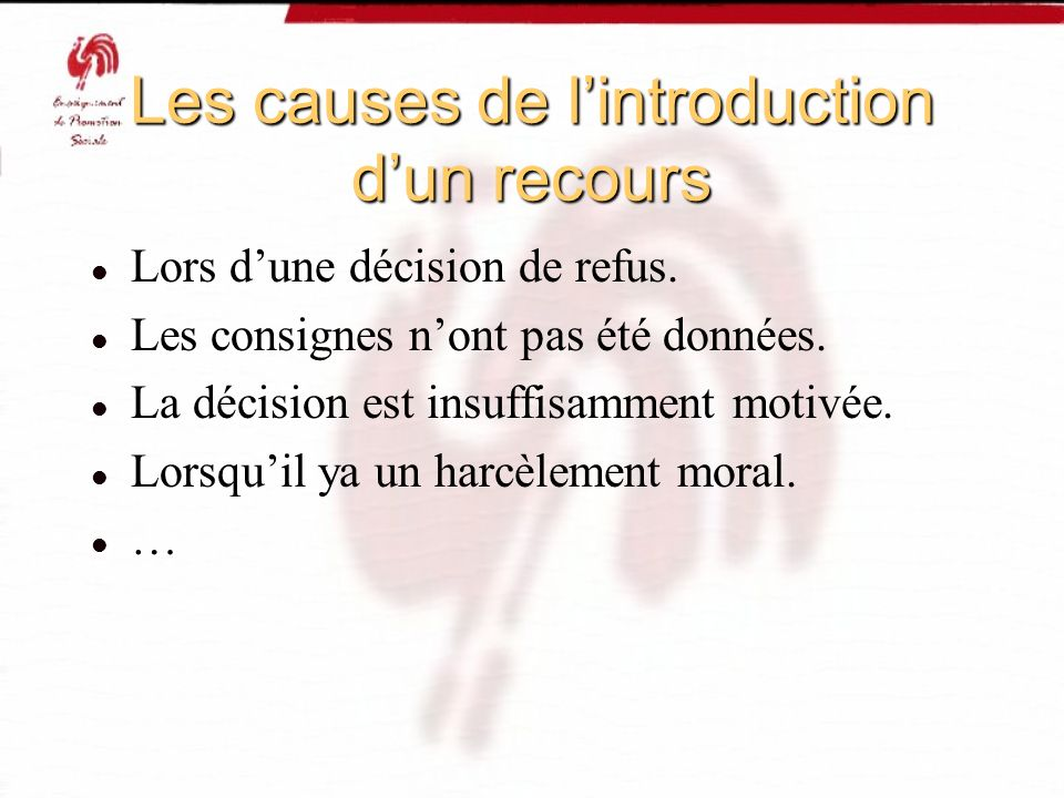 Les causes de lintroduction dun recours Lors dune décision de refus. Les consignes nont pas été données. La décision est insuffisamment motivée. Lorsq