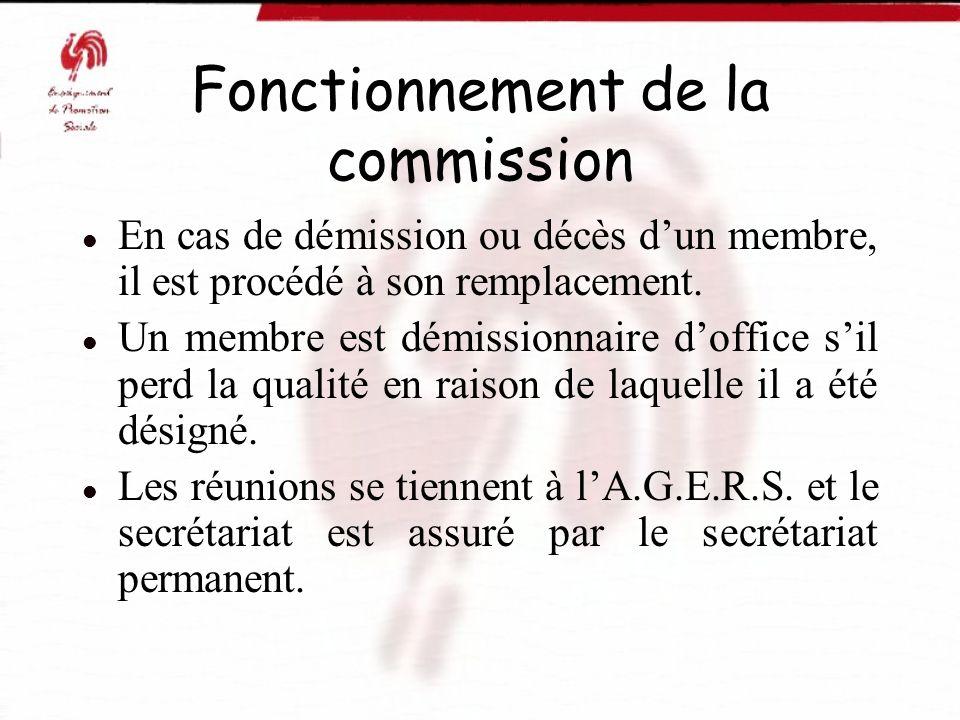 Fonctionnement de la commission En cas de démission ou décès dun membre, il est procédé à son remplacement. Un membre est démissionnaire doffice sil p