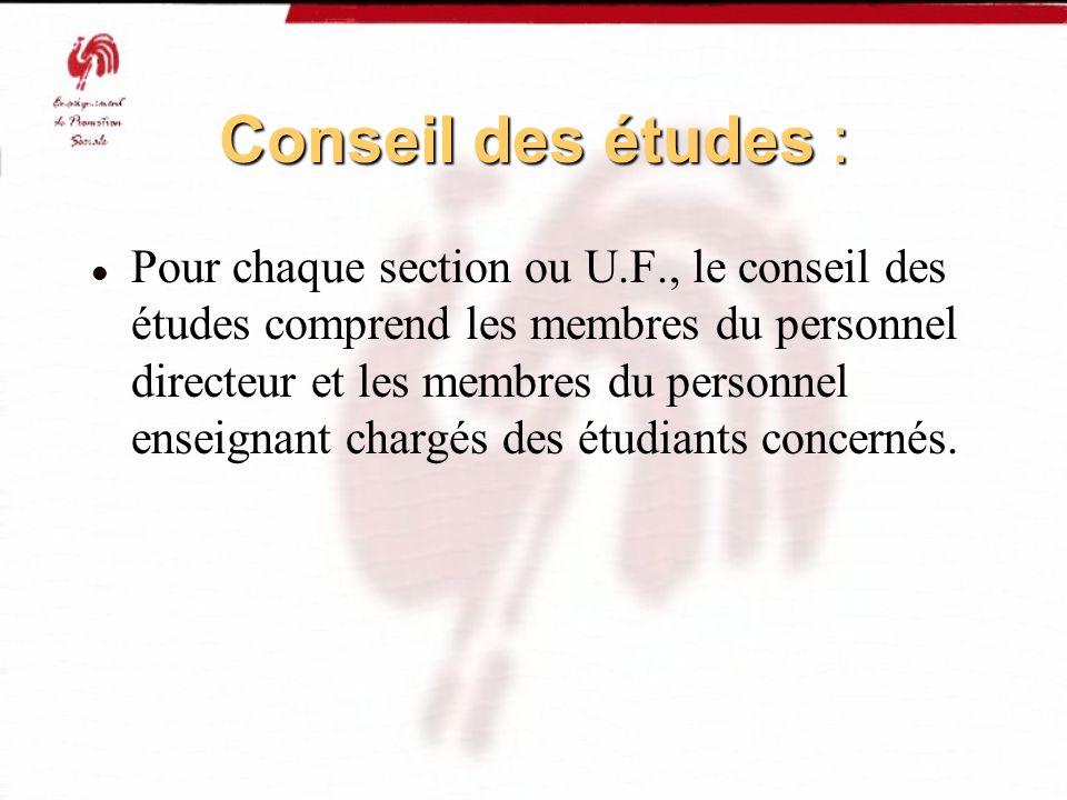 Conseil des études : Pour chaque section ou U.F., le conseil des études comprend les membres du personnel directeur et les membres du personnel enseig