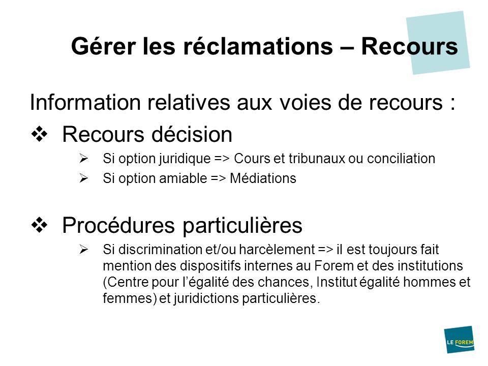 Information relatives aux voies de recours : Recours décision Si option juridique => Cours et tribunaux ou conciliation Si option amiable => Médiation