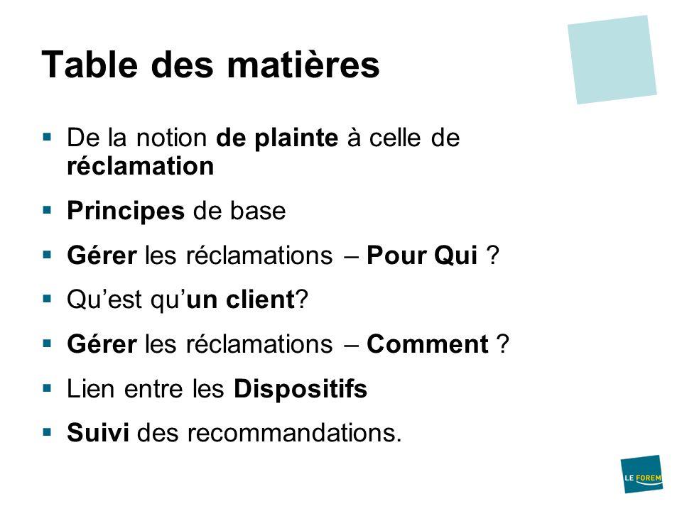 Table des matières De la notion de plainte à celle de réclamation Principes de base Gérer les réclamations – Pour Qui ? Quest quun client? Gérer les r