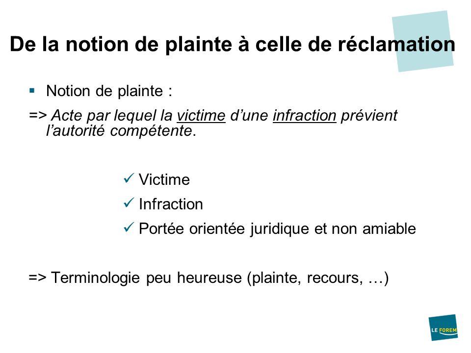Notion de plainte : => Acte par lequel la victime dune infraction prévient lautorité compétente. Victime Infraction Portée orientée juridique et non a