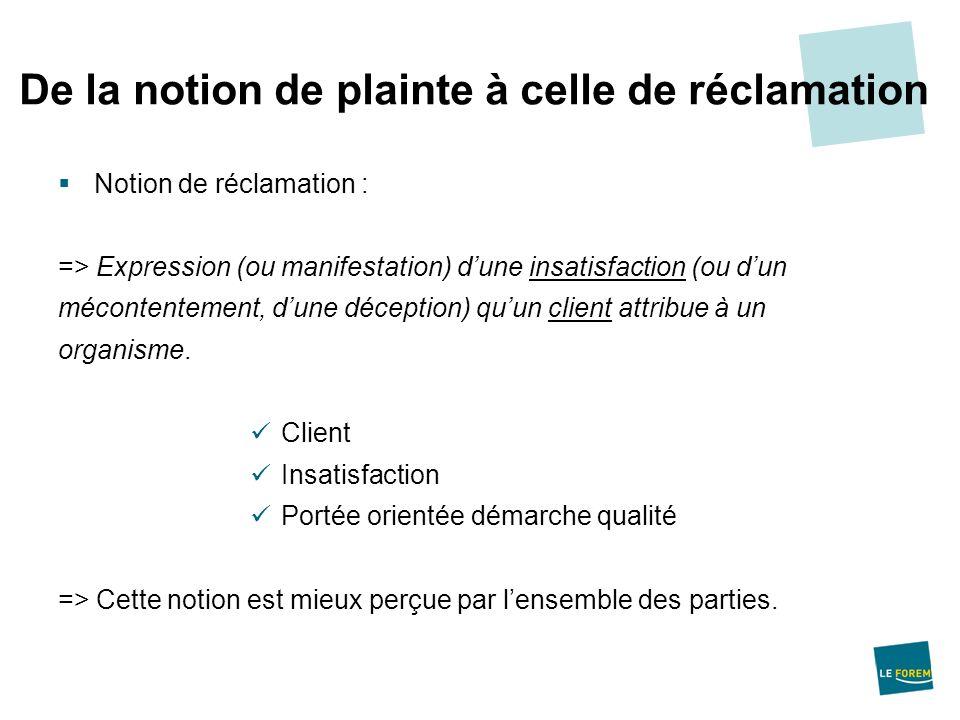 Notion de réclamation : => Expression (ou manifestation) dune insatisfaction (ou dun mécontentement, dune déception) quun client attribue à un organis