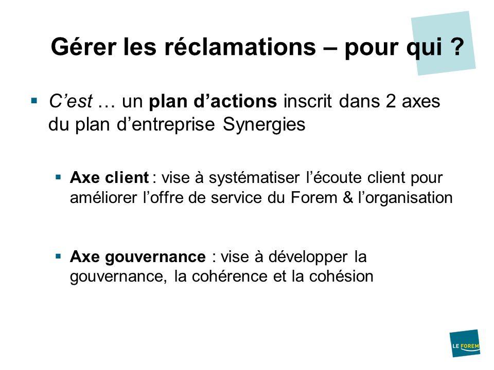 Cest … un plan dactions inscrit dans 2 axes du plan dentreprise Synergies Axe client : vise à systématiser lécoute client pour améliorer loffre de ser