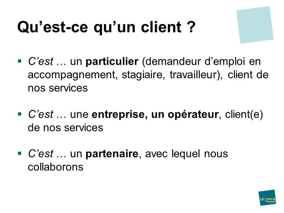 Cest … un particulier (demandeur demploi en accompagnement, stagiaire, travailleur), client de nos services Cest … une entreprise, un opérateur, clien