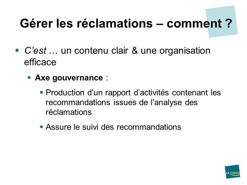 Cest … un contenu clair & une organisation efficace Axe gouvernance : Production dun rapport dactivités contenant les recommandations issues de lanaly