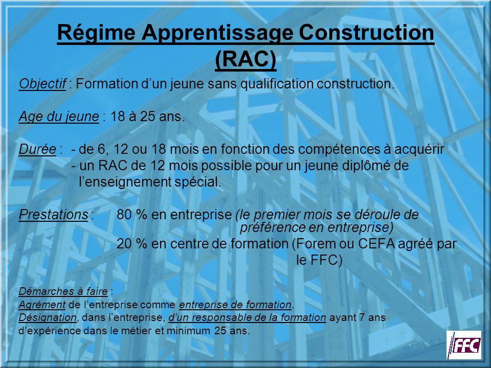 Régime Apprentissage Construction (RAC) Objectif : Formation dun jeune sans qualification construction.