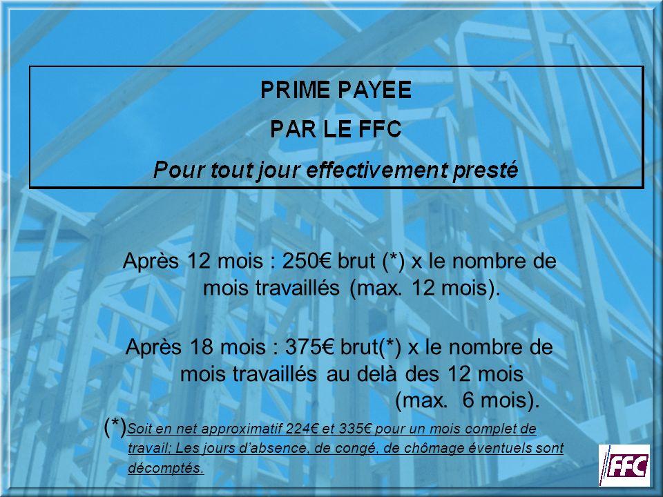 Après 12 mois : 250 brut (*) x le nombre de mois travaillés (max.
