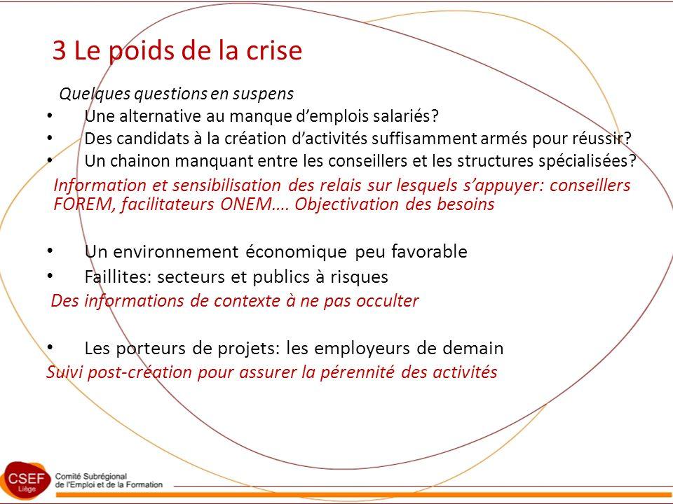 3 Le poids de la crise Quelques questions en suspens Une alternative au manque demplois salariés.
