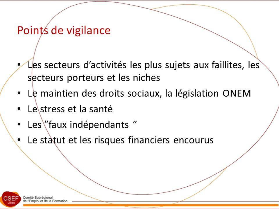 Points de vigilance Les secteurs dactivités les plus sujets aux faillites, les secteurs porteurs et les niches Le maintien des droits sociaux, la législation ONEM Le stress et la santé Les faux indépendants Le statut et les risques financiers encourus