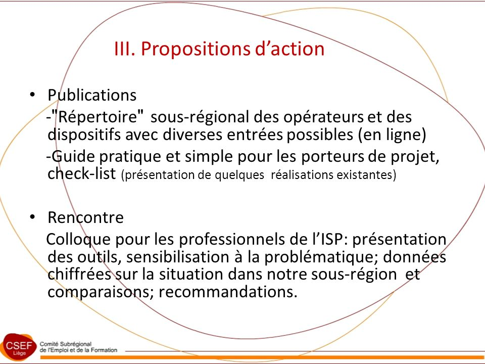 III. Propositions daction Publications -