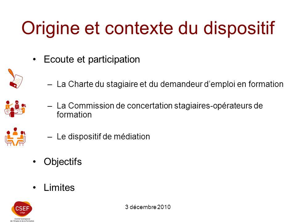 3 décembre 2010 Origine et contexte du dispositif Ecoute et participation –La Charte du stagiaire et du demandeur demploi en formation –La Commission