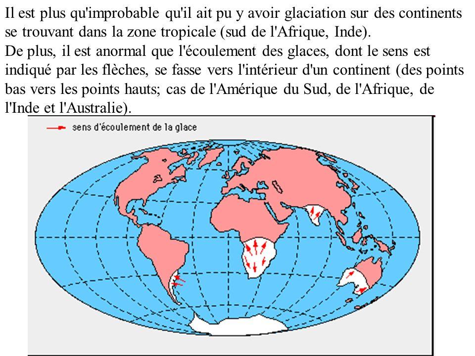Il est plus qu'improbable qu'il ait pu y avoir glaciation sur des continents se trouvant dans la zone tropicale (sud de l'Afrique, Inde). De plus, il