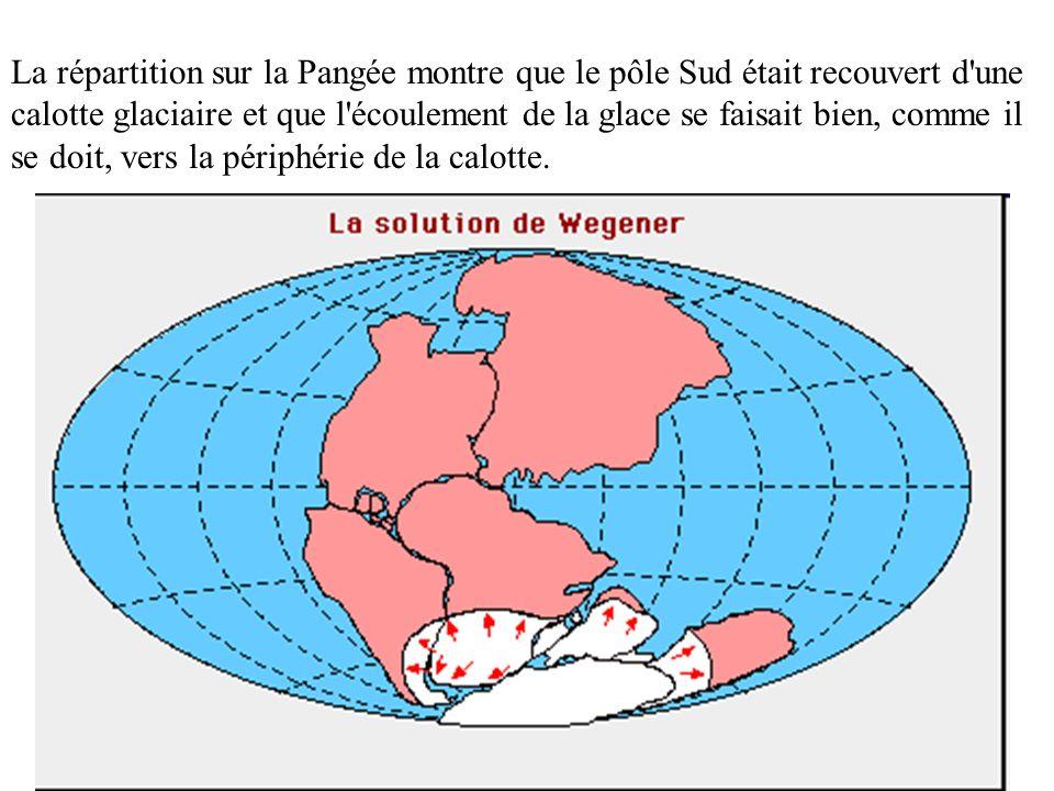 La répartition sur la Pangée montre que le pôle Sud était recouvert d'une calotte glaciaire et que l'écoulement de la glace se faisait bien, comme il