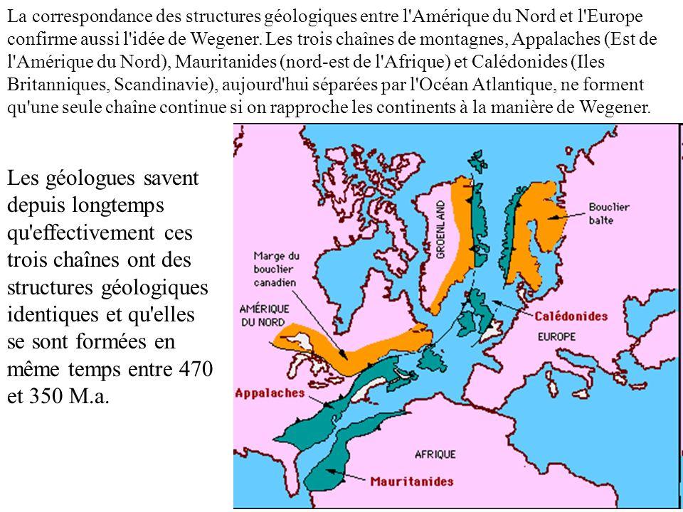 La correspondance des structures géologiques entre l'Amérique du Nord et l'Europe confirme aussi l'idée de Wegener. Les trois chaînes de montagnes, Ap
