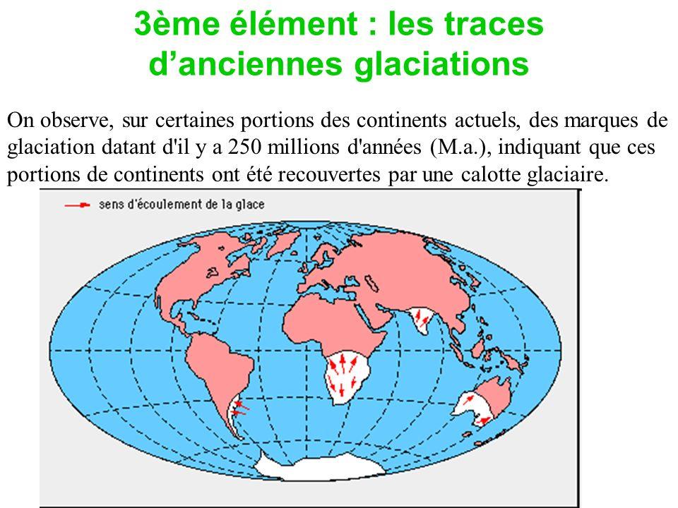 3ème élément : les traces danciennes glaciations On observe, sur certaines portions des continents actuels, des marques de glaciation datant d'il y a