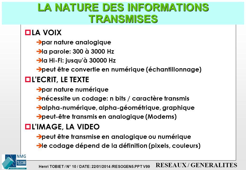 Henri TOBIET / N° 9 / DATE: 22/01/2014 /RESOGEN5.PPT V99 RESEAUX / GENERALITES LA TELE-INFORMATIQUE RESEAU LOCAL DE TRANSMISSION DE DONNEES RESEAU LOC
