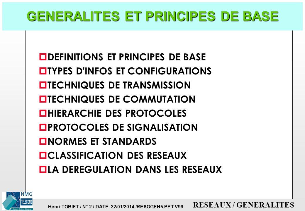 Henri TOBIET / N° 1 / DATE: 22/01/2014 /RESOGEN5.PPT V99 RESEAUX / GENERALITES RESEAUX & COMMUNICATIONS GENERALITES & PRINCIPES Version 99