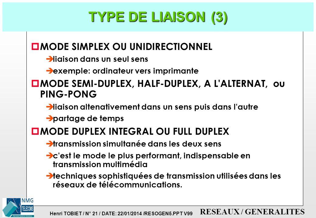 Henri TOBIET / N° 20 / DATE: 22/01/2014 /RESOGEN5.PPT V99 RESEAUX / GENERALITES TYPE DE LIAISON (2) p LIAISON SYNCHRONE è un fil d'horloge pour la syn