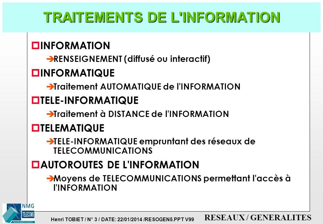 Henri TOBIET / N° 2 / DATE: 22/01/2014 /RESOGEN5.PPT V99 RESEAUX / GENERALITES GENERALITES ET PRINCIPES DE BASE p DEFINITIONS ET PRINCIPES DE BASE p T