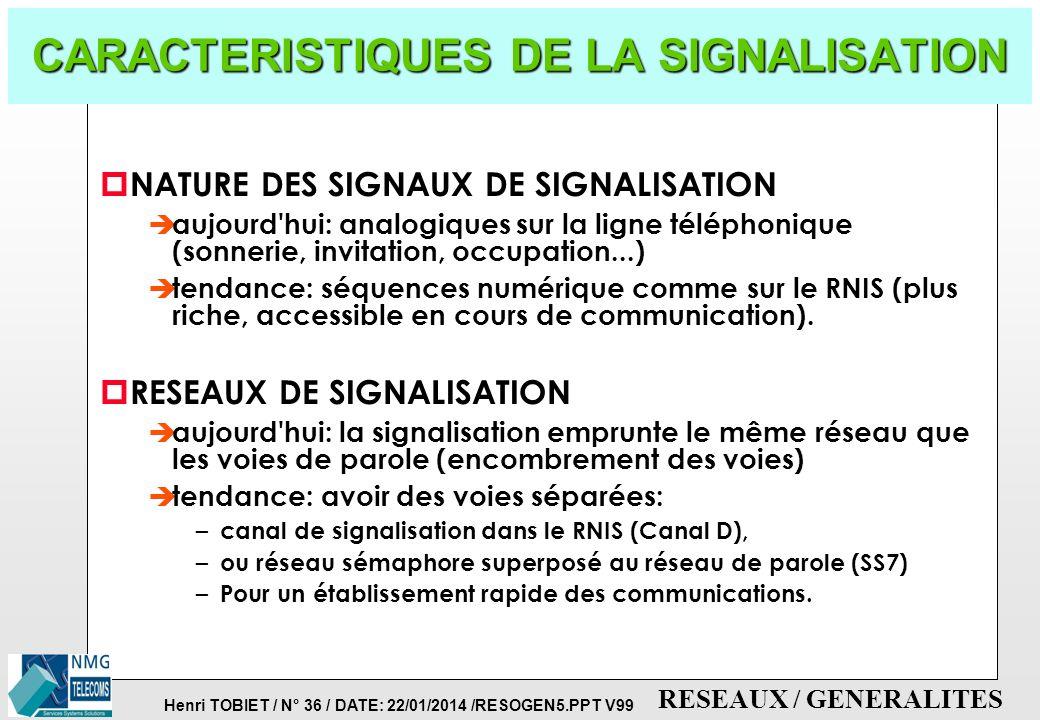 Henri TOBIET / N° 35 / DATE: 22/01/2014 /RESOGEN5.PPT V99 RESEAUX / GENERALITES LA SIGNALISATION p C'EST L'ENSEMBLE DES SIGNAUX NECESSAIRES A LA GESTI