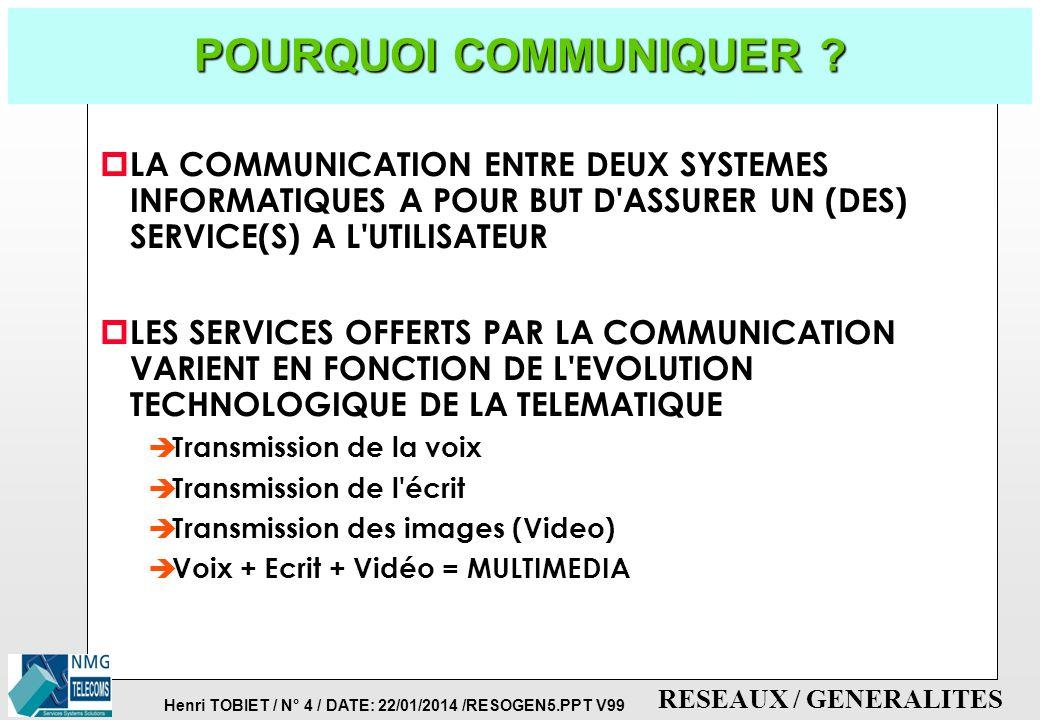 Henri TOBIET / N° 3 / DATE: 22/01/2014 /RESOGEN5.PPT V99 RESEAUX / GENERALITES TRAITEMENTS DE L'INFORMATION p INFORMATION è RENSEIGNEMENT (diffusé ou