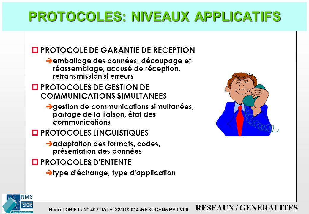 Henri TOBIET / N° 39 / DATE: 22/01/2014 /RESOGEN5.PPT V99 RESEAUX / GENERALITES PROTOCOLES: NIVEAUX RESEAU p PROTOCOLE AU NIVEAU PHYSIQUE è définit: l