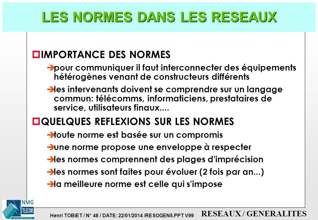 Henri TOBIET / N° 47 / DATE: 22/01/2014 /RESOGEN5.PPT V99 RESEAUX / GENERALITES EXEMPLES DE PROTOCOLES 7: APPLICATION 6: PRESENTATION 5: SESSION 4: TR
