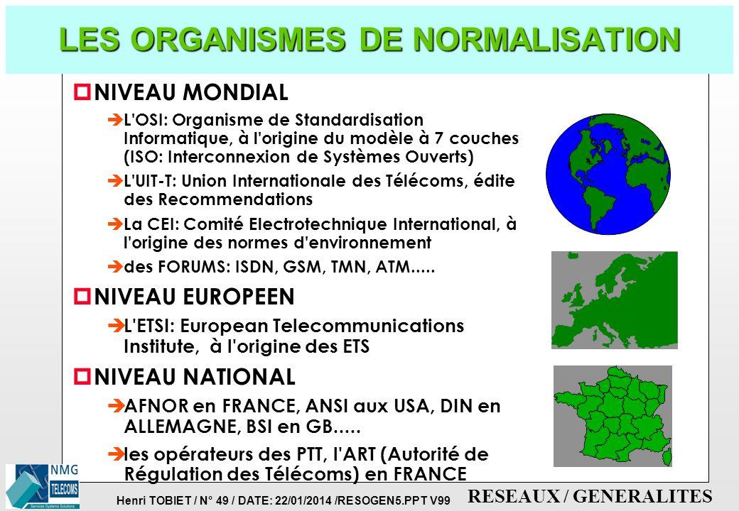 Henri TOBIET / N° 48 / DATE: 22/01/2014 /RESOGEN5.PPT V99 RESEAUX / GENERALITES LES NORMES DANS LES RESEAUX p IMPORTANCE DES NORMES è pour communiquer
