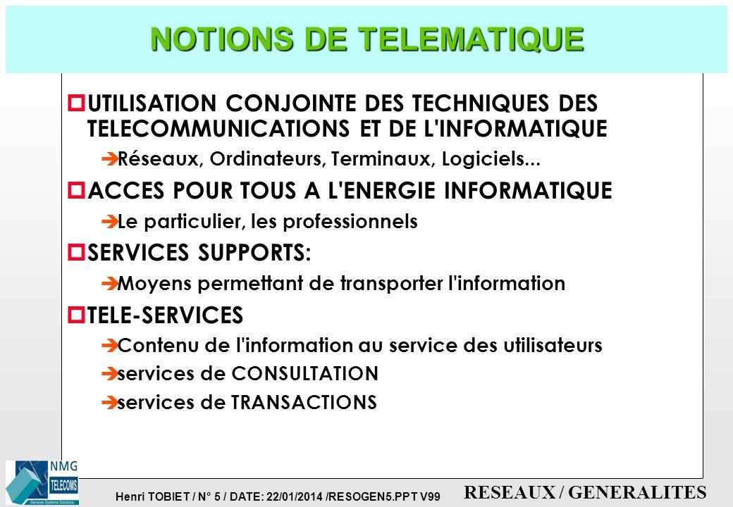 Henri TOBIET / N° 4 / DATE: 22/01/2014 /RESOGEN5.PPT V99 RESEAUX / GENERALITES POURQUOI COMMUNIQUER ? p LA COMMUNICATION ENTRE DEUX SYSTEMES INFORMATI