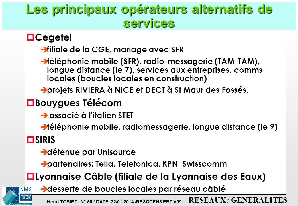Henri TOBIET / N° 55 / DATE: 22/01/2014 /RESOGEN5.PPT V99 RESEAUX / GENERALITES Les opérateurs alternatifs, propriétaires de réseaux en France p SNCF