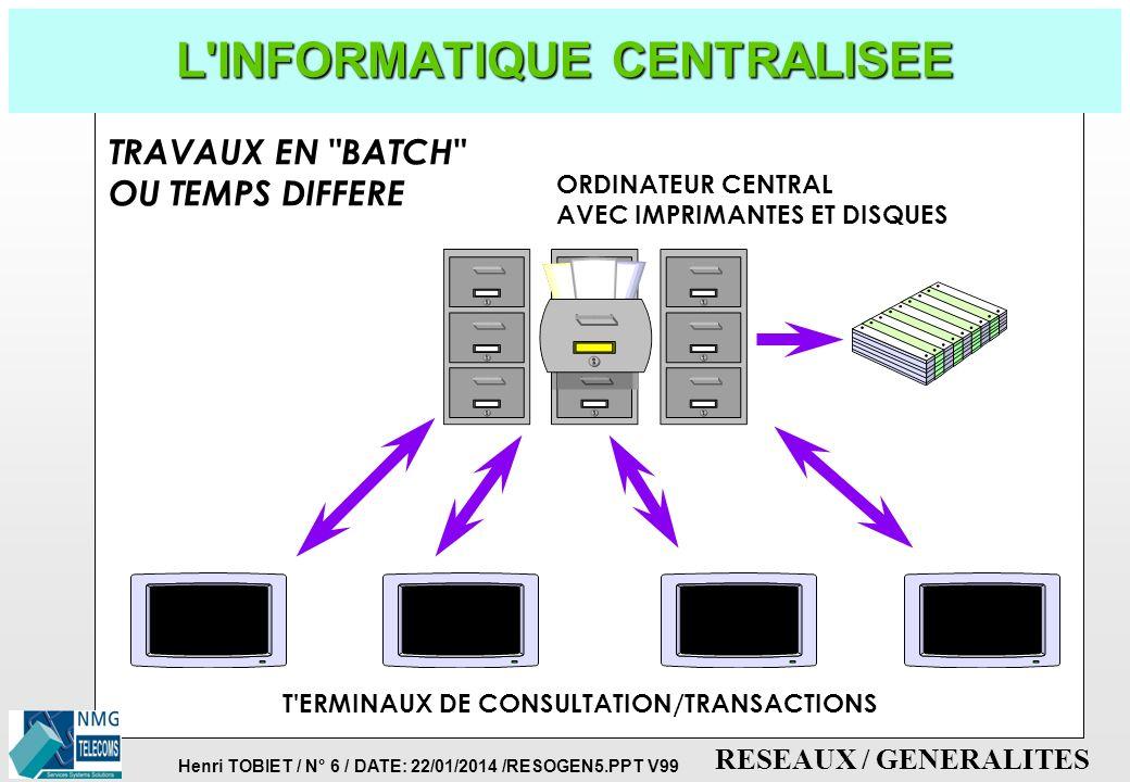 Henri TOBIET / N° 5 / DATE: 22/01/2014 /RESOGEN5.PPT V99 RESEAUX / GENERALITES NOTIONS DE TELEMATIQUE p UTILISATION CONJOINTE DES TECHNIQUES DES TELEC