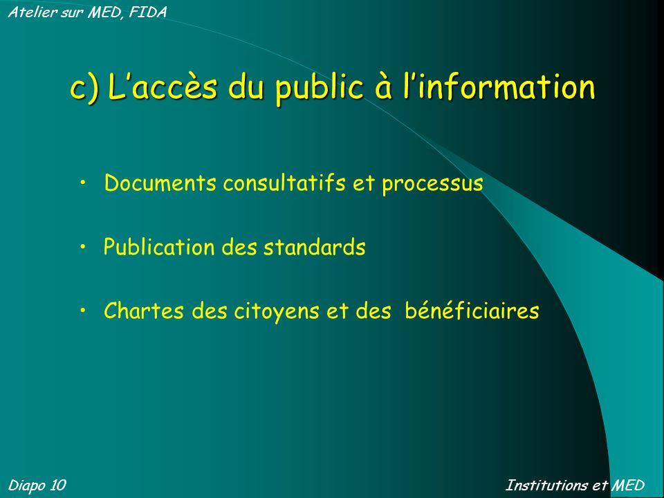 c) Laccès du public à linformation Documents consultatifs et processus Publication des standards Chartes des citoyens et des bénéficiaires Diapo 10 At