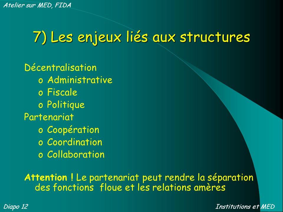 7) Les enjeux liés aux structures Décentralisation oAdministrative oFiscale oPolitique Partenariat oCoopération oCoordination oCollaboration Attention