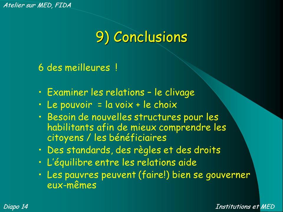9) Conclusions 6 des meilleures ! Examiner les relations – le clivage Le pouvoir = la voix + le choix Besoin de nouvelles structures pour les habilita