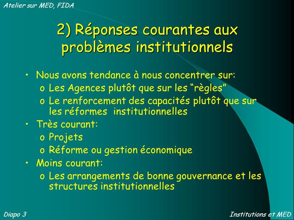 2) Réponses courantes aux problèmes institutionnels Nous avons tendance à nous concentrer sur: oLes Agences plutôt que sur les règles oLe renforcement
