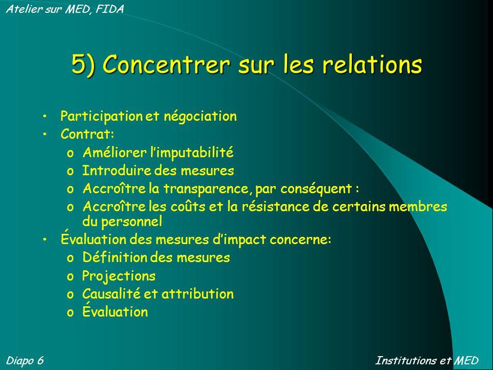 5) Concentrer sur les relations Participation et négociation Contrat: oAméliorer limputabilité oIntroduire des mesures oAccroître la transparence, par