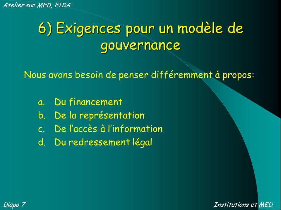 6) Exigences pour un modèle de gouvernance Nous avons besoin de penser différemment à propos: a.Du financement b.De la représentation c.De laccès à li