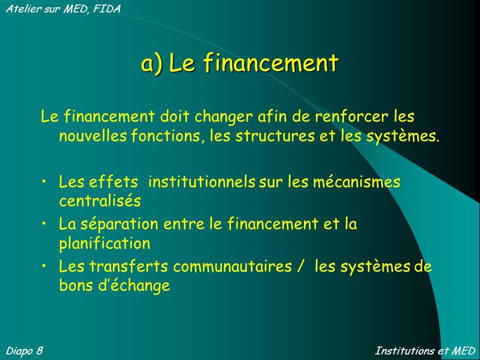 a) Le financement Le financement doit changer afin de renforcer les nouvelles fonctions, les structures et les systèmes. Les effets institutionnels su